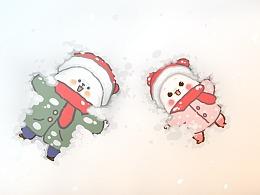 懒熊熊与兔蛮蛮冬天主题表情包