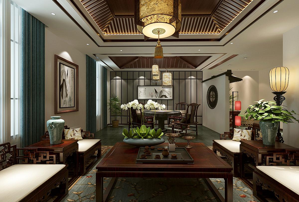 中式茶楼茶楼-梧州包间设计,梧州植物装修字体设计茶楼图片