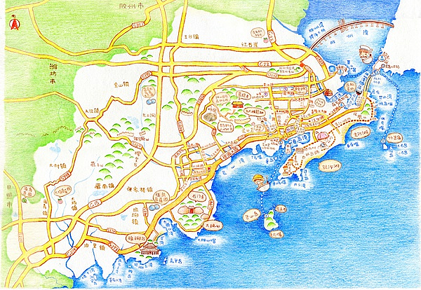手绘青岛西海岸风光|插画|商业插画|小糖水 - 原创