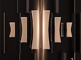 地产提案LOGO标志VI主形象围墙户外黑金C4D立体质感