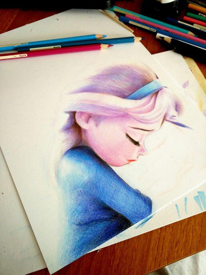 彩铅手绘~冰雪奇缘|彩铅|纯艺术|oliudio