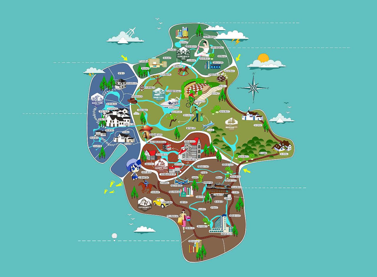 旅游地图|插画|商业插画|碎碎猫 - 原创作品 - 站酷图片