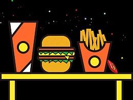 扁平化快餐图标