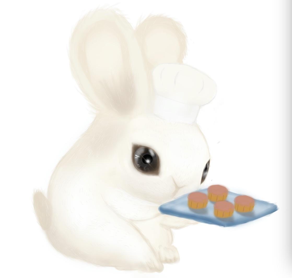 中秋节自己手绘的白兔拖月饼