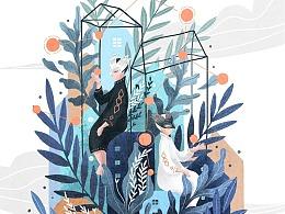 猫与婵插画记 | 十二星座 · 蓝