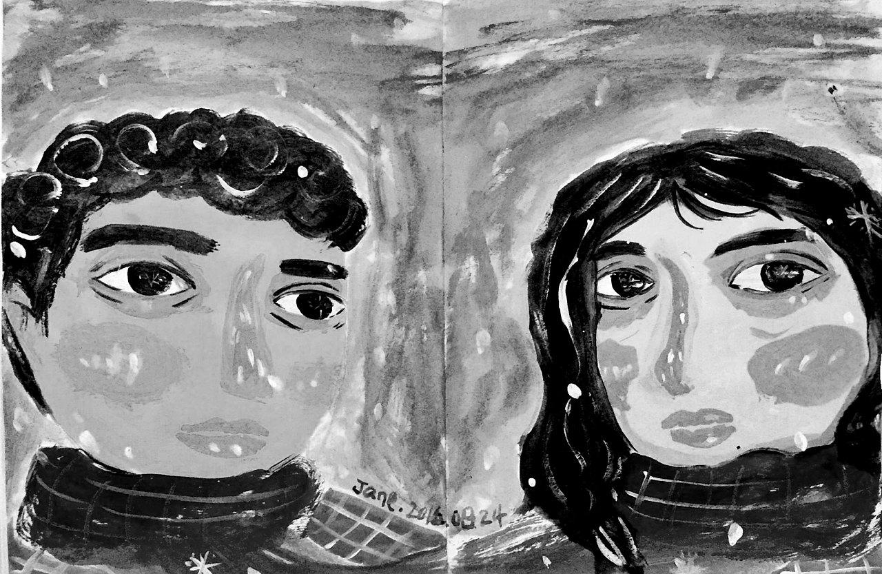 情侣头像涂鸦-灰