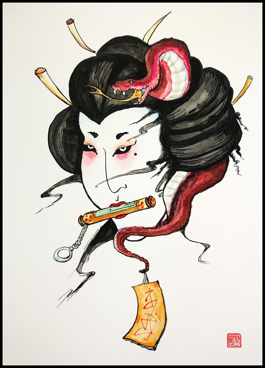 水彩涂鸦作品日本妖怪飞头萤恐怖|涂鸦\/潮流|插画|大白嘿嘿 - 原创设计作品 - 站酷 (ZCOOL)