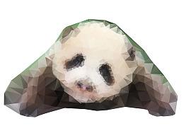 一只可爱的熊猫仔(三角艺术图)