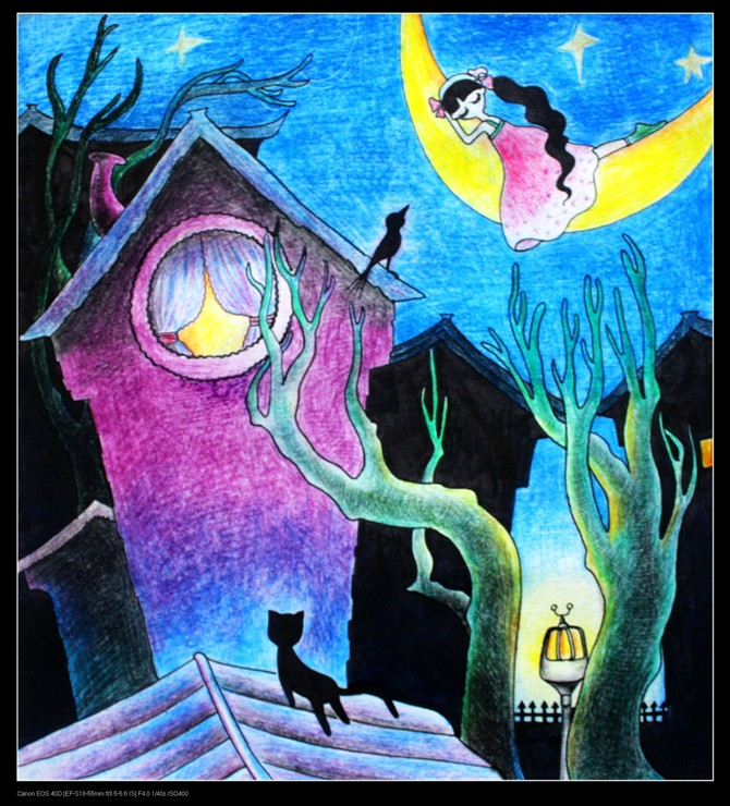 简单儿童彩铅画儿童彩铅画风景作品儿童彩铅画图图片