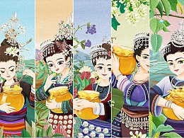蜂蜜包装插画系列