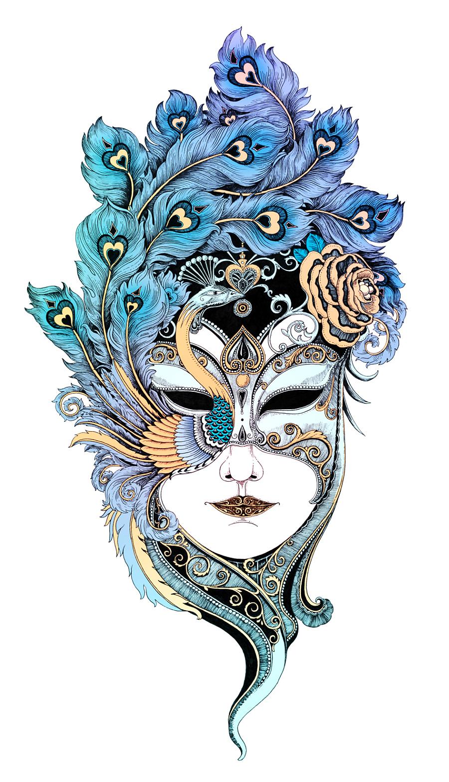 女人-面具 (插画作品)