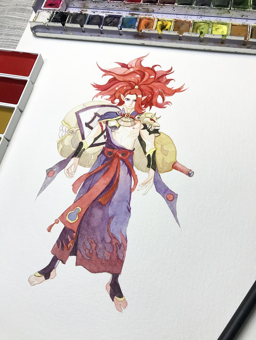 水彩手绘--阴阳师 酒吞童子