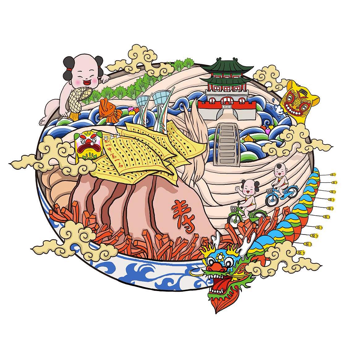 最近画了两幅以潍坊为主题的插画,其中融入了地标