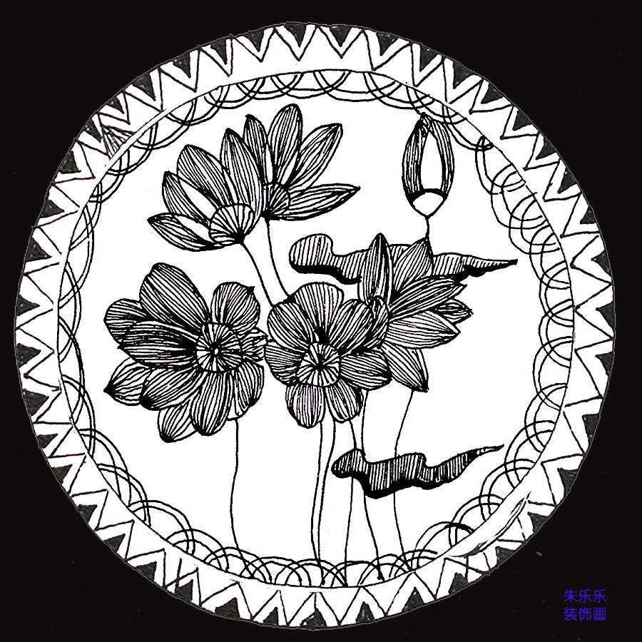 黑白装饰画图片