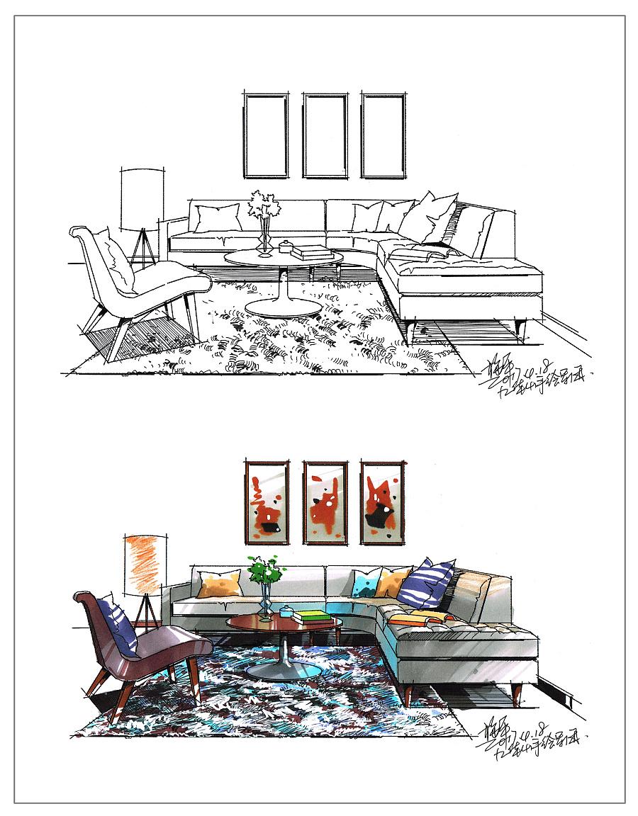 室内手绘设计表现|室内设计|空间|shi先生 - 原创设计