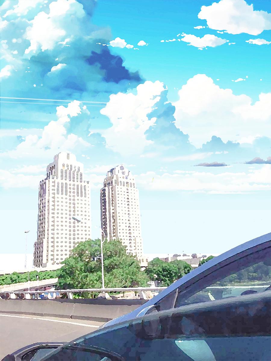 车窗外手绘动漫风格 新海诚风格