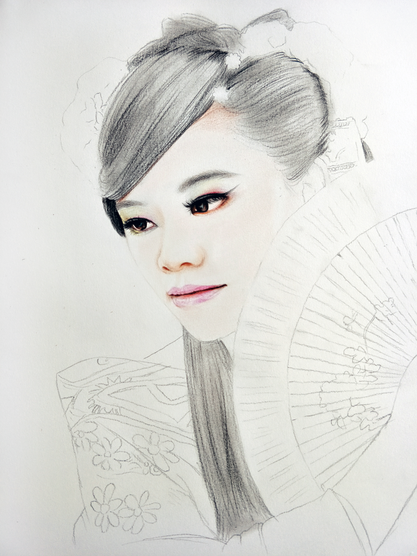 彩铅古装美女肖像画---叶青(过程)