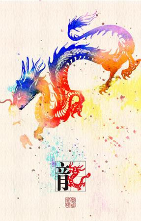手绘插画小兔,龙,蛇