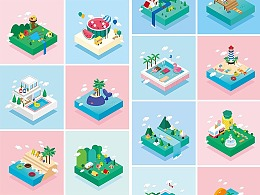 2.5D立体插画夏日休闲旅行出游度假手机网页UI场景图标