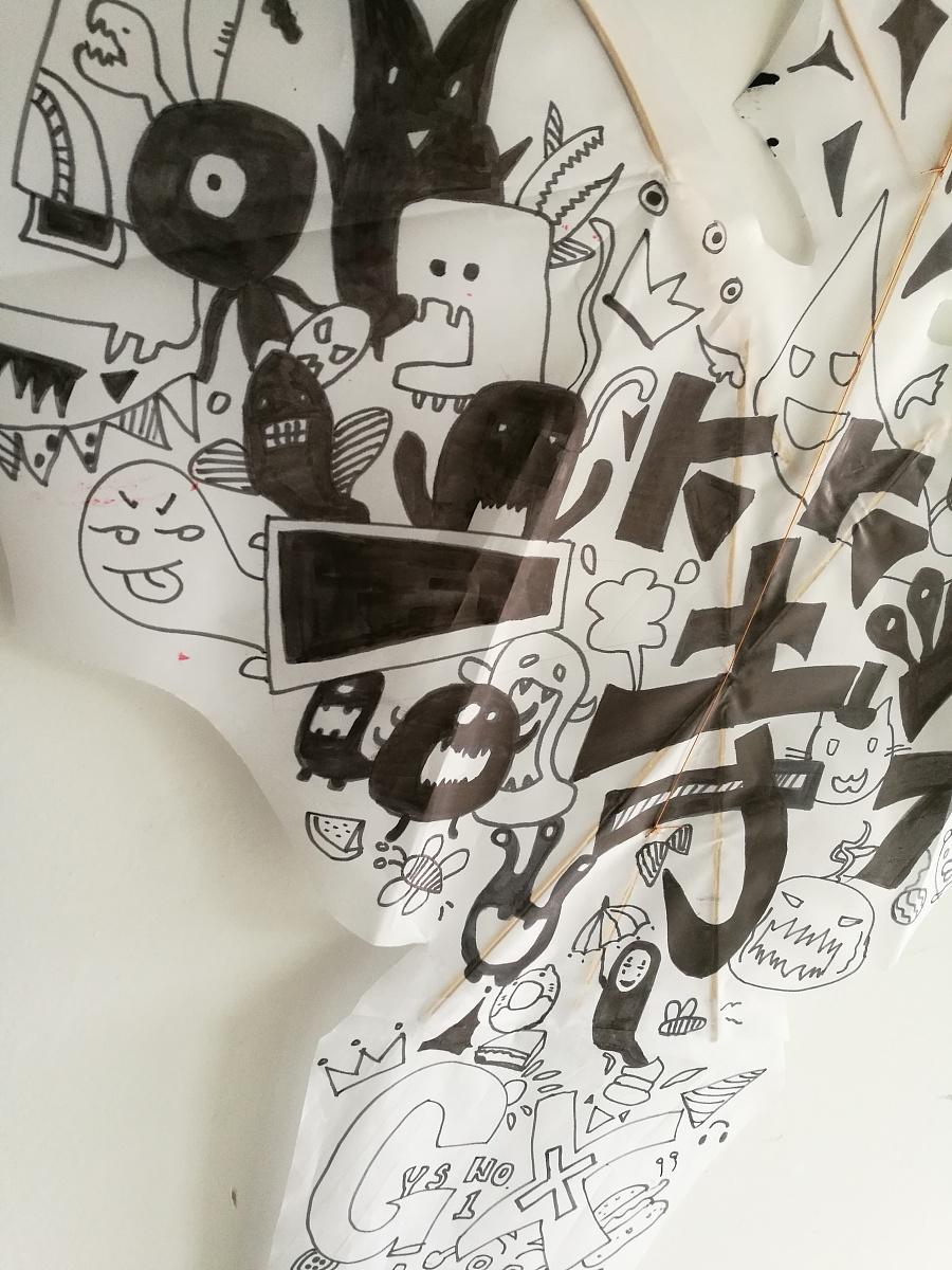 原创作品:小怪兽手绘风筝