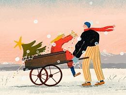 圣诞快乐 圣诞插画贺图