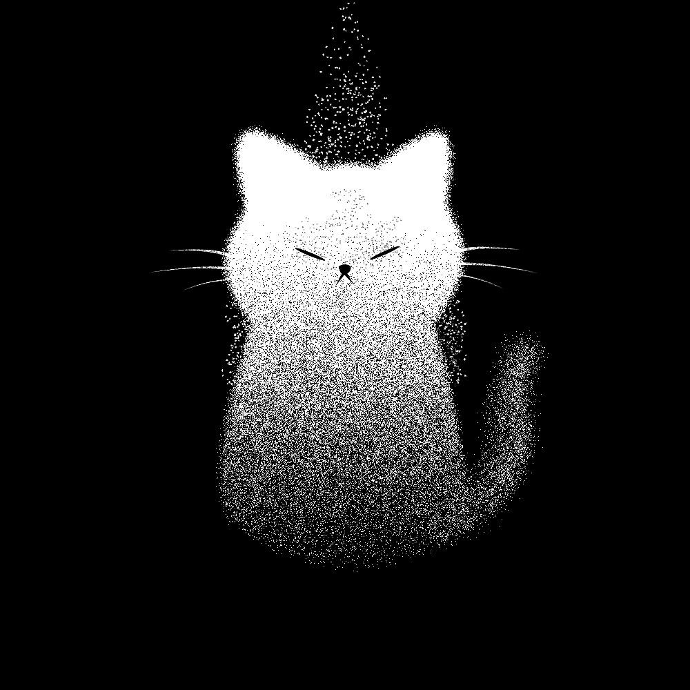 手绘壁纸猫咪黑白