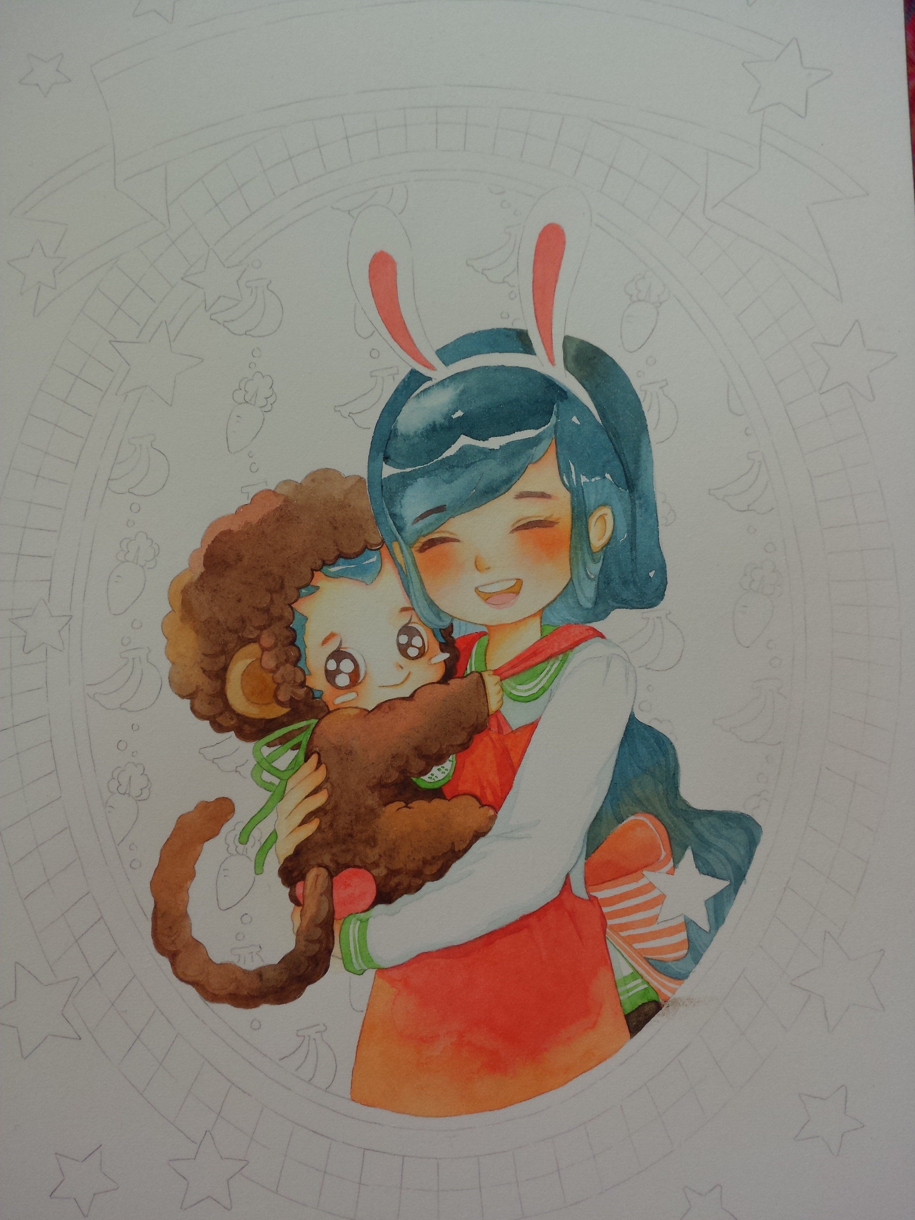 手绘水彩插画母亲节