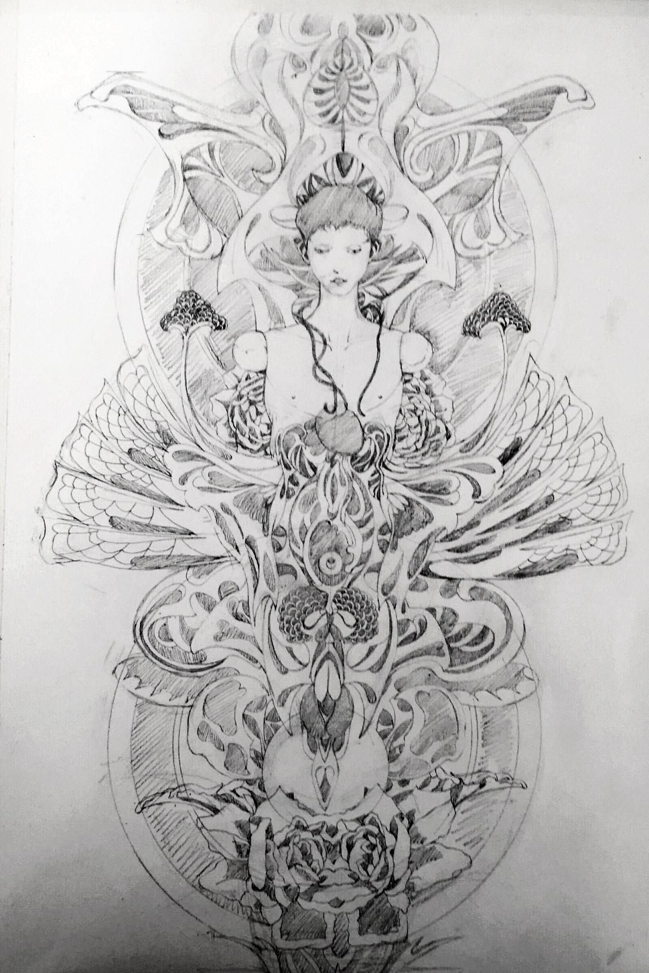 黑白画,参考日本浮世绘画师山本夕力卜的作品图片