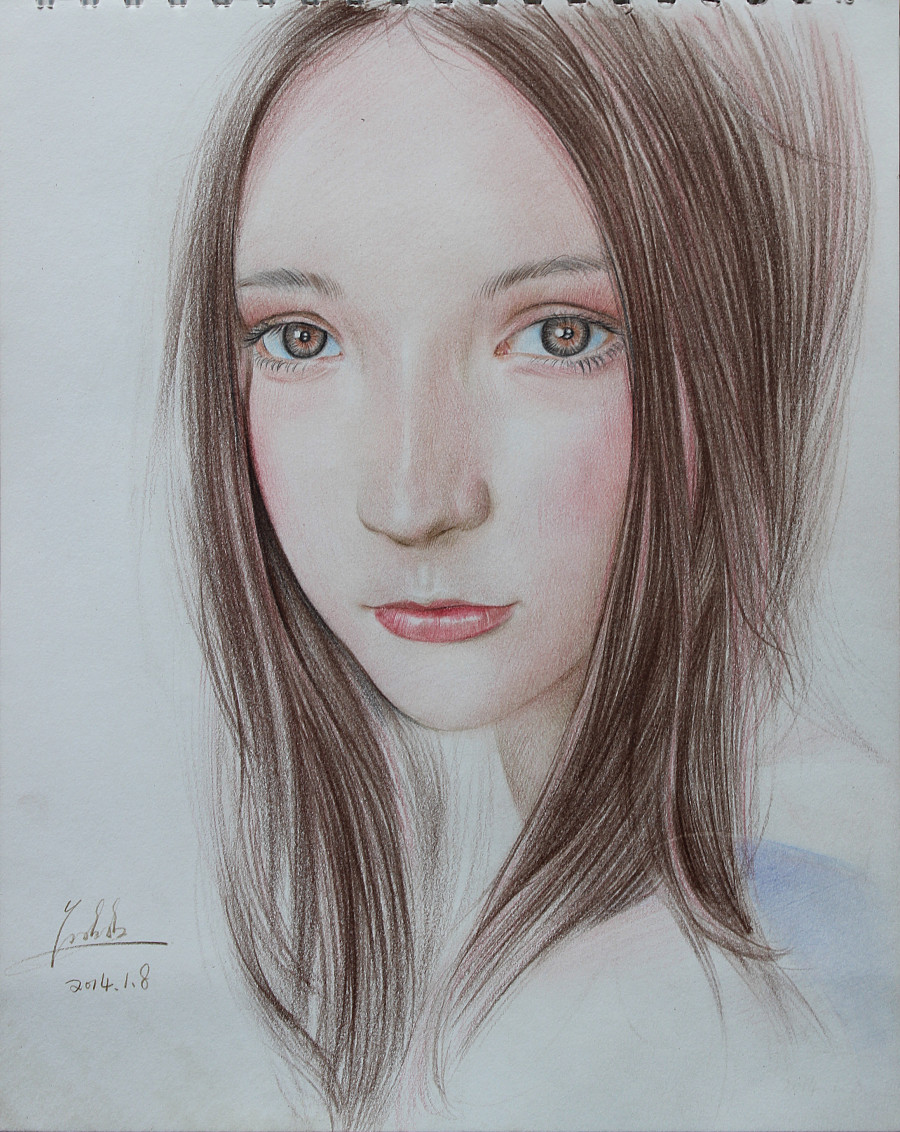 彩铅手绘素描古代美女