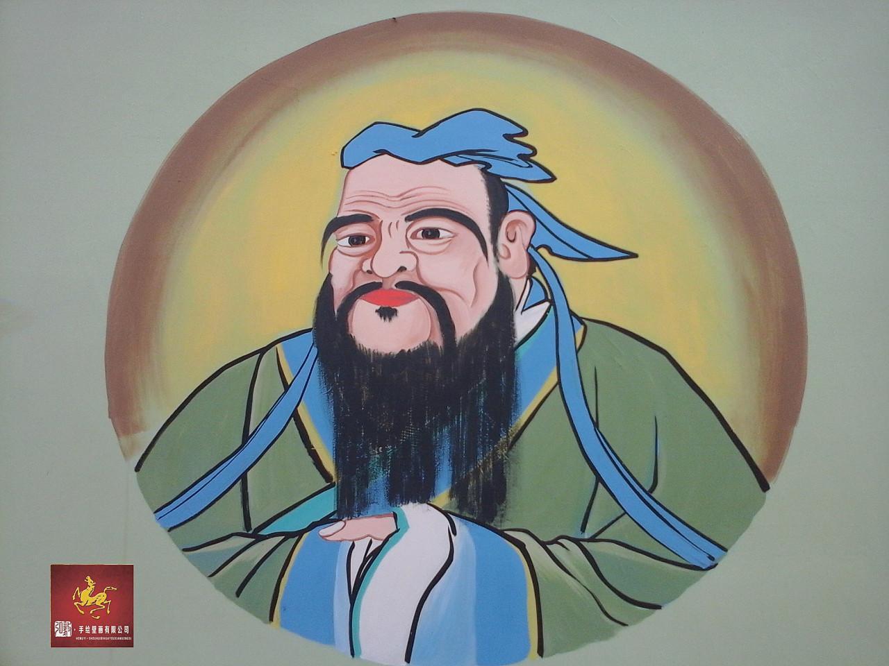 手绘壁画作品《弘色文明》图片
