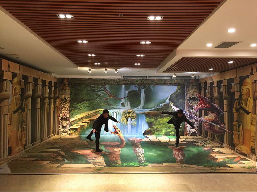 北京纯手绘3d立体画《勇闯埃及神殿》