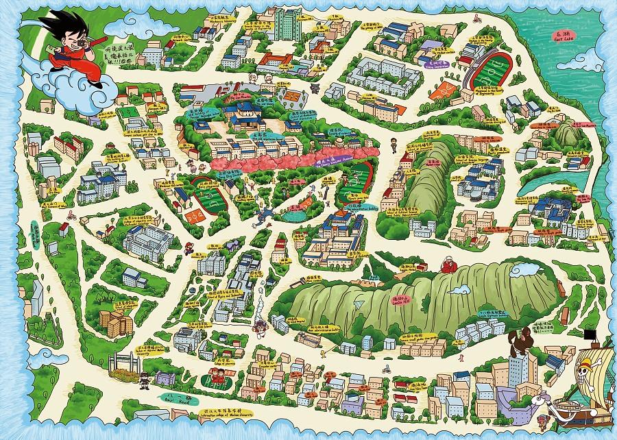 武汉大学卡通版手绘地图