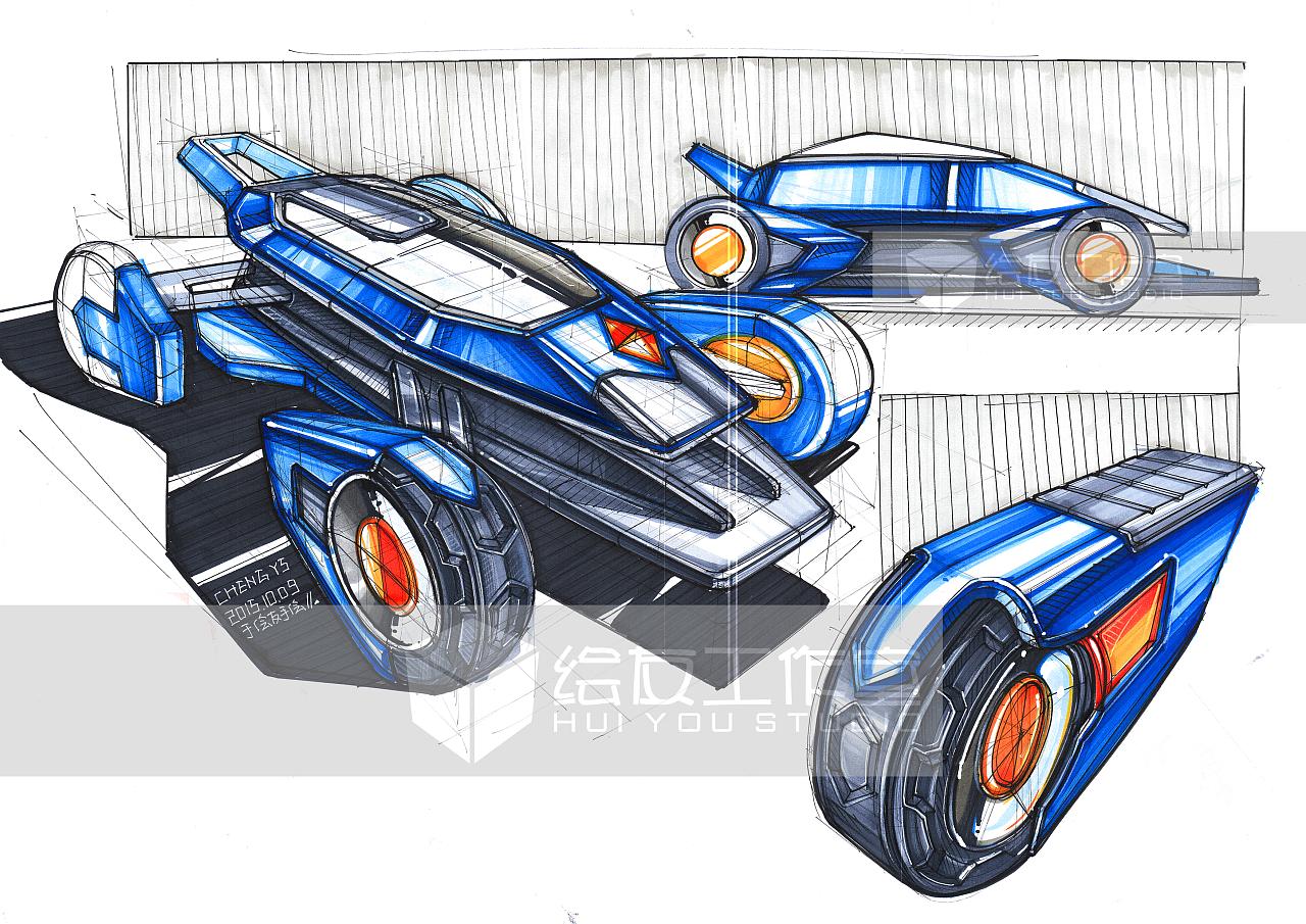 工业设计产品手绘之概念车手绘图