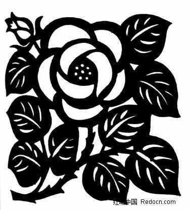 手绘玫瑰图标 黑白