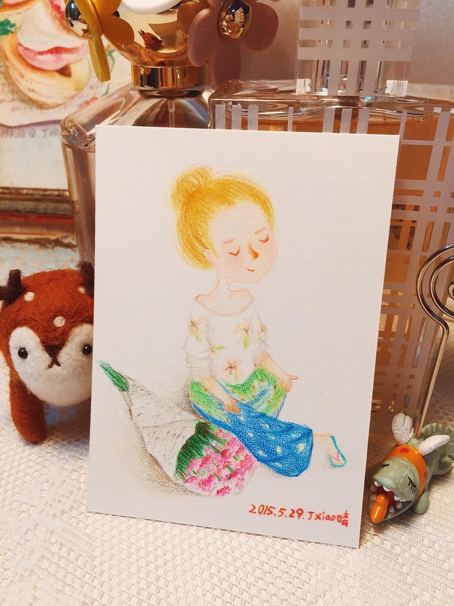 手绘彩铅小人物系列插画35|商业插画|插画|丁小婧