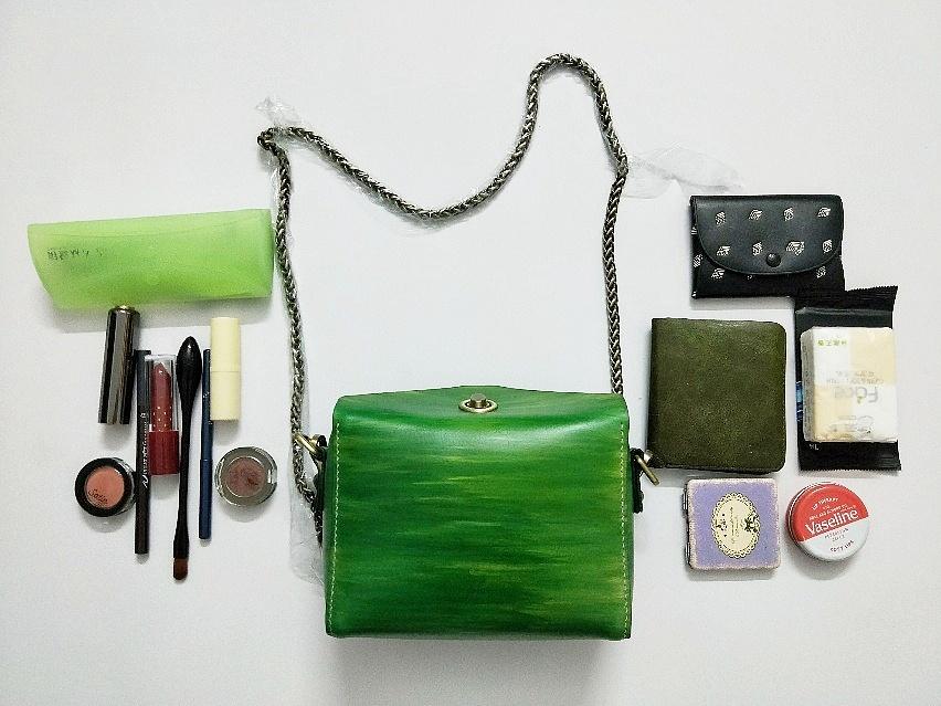木纹绿纯手工制作包包