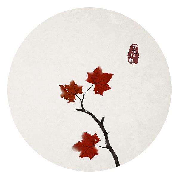 水墨中国风插画——竹间系列·二十四节气之寒露·梧桐