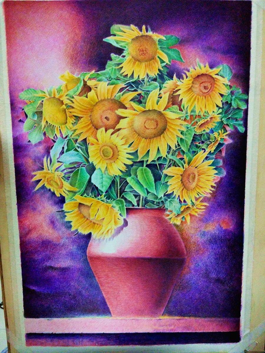 圆珠笔画-《向日葵》