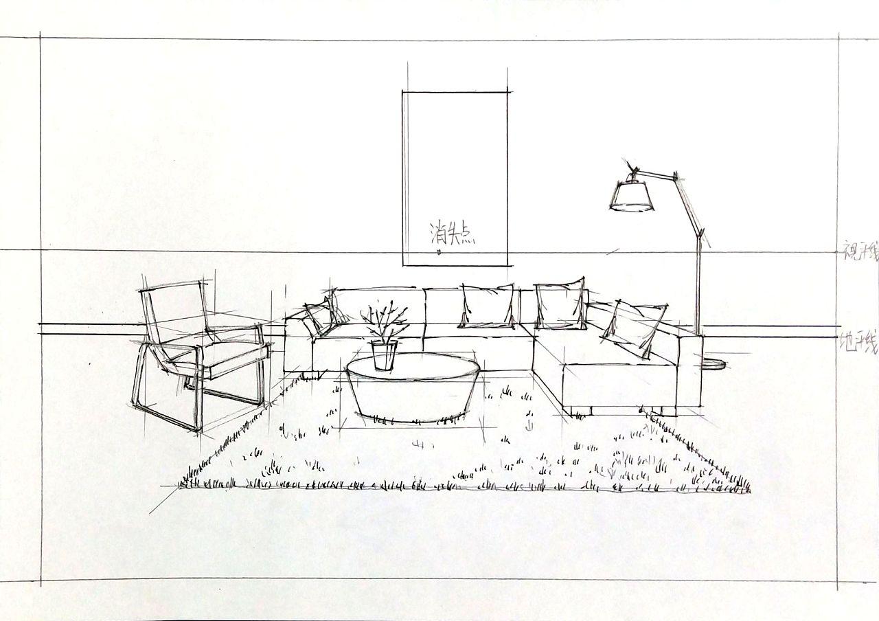 手绘室内客厅空间, 从线稿到色彩, 空间组合