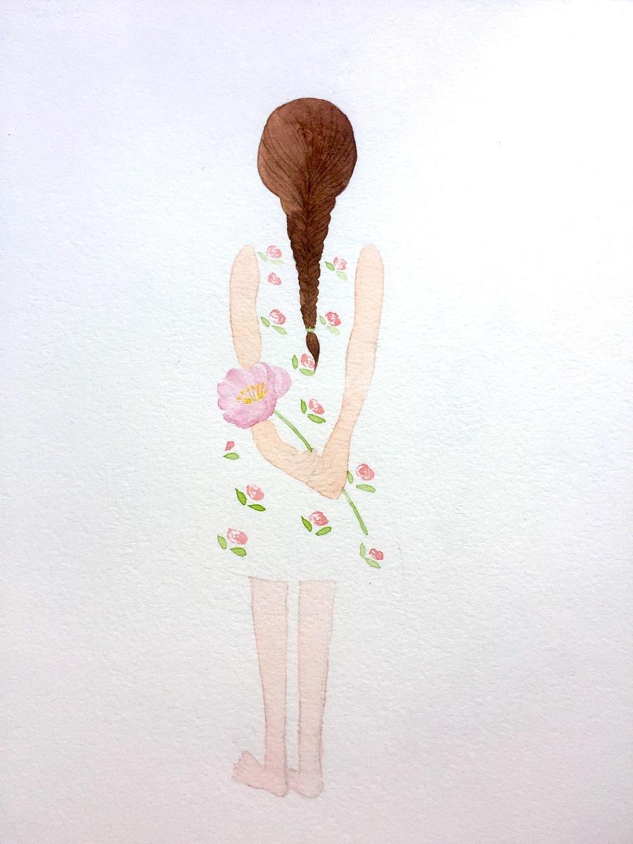 原创作品:女孩背影 水彩插画
