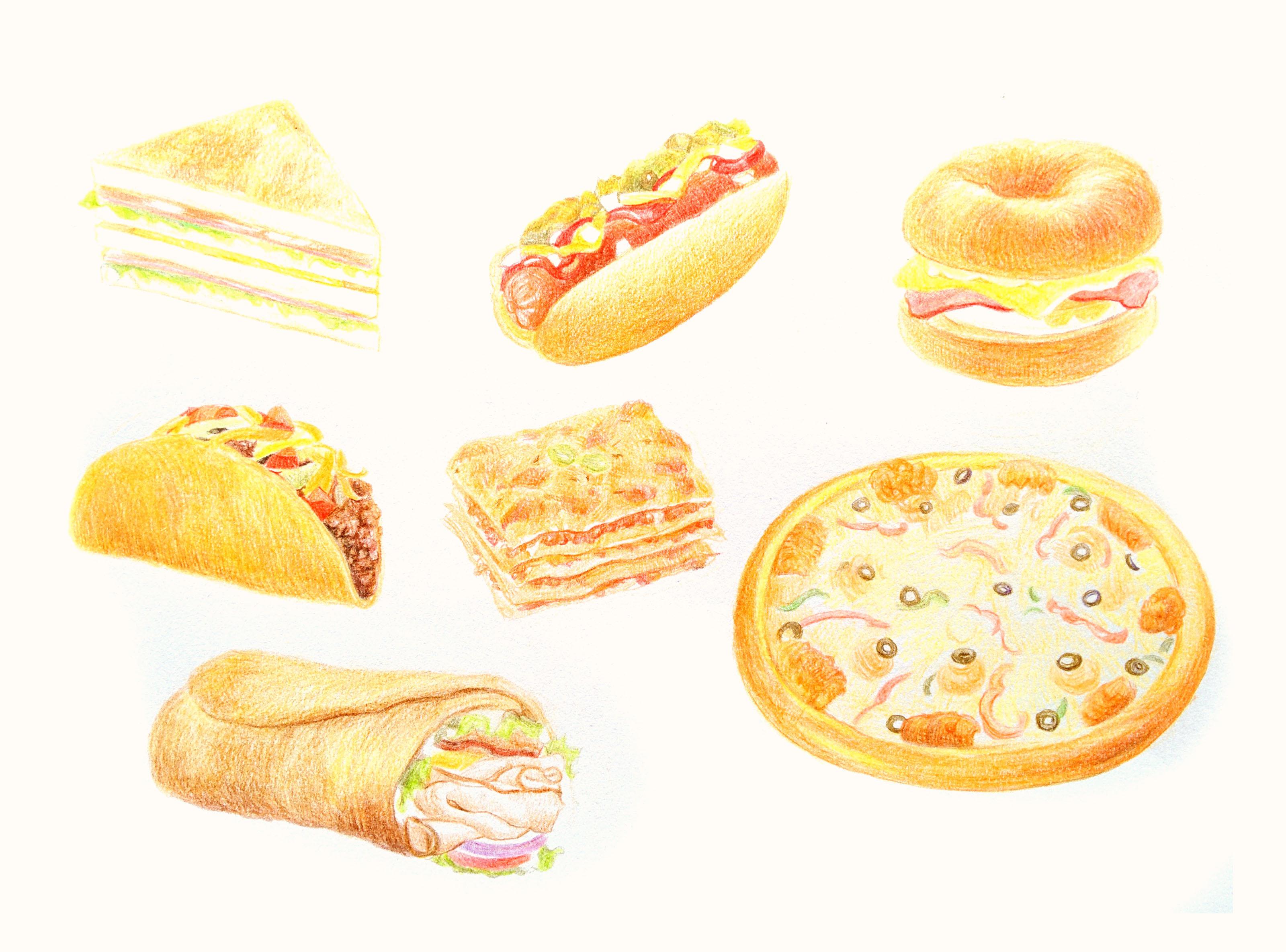 彩铅手绘美食