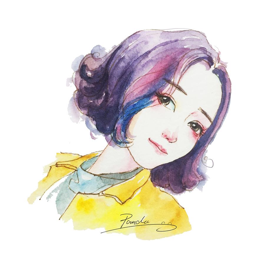 水彩插画人物卡通头像