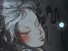 昵昵兒女語,燈火夜微明,推手從歸去,無淚與君傾。