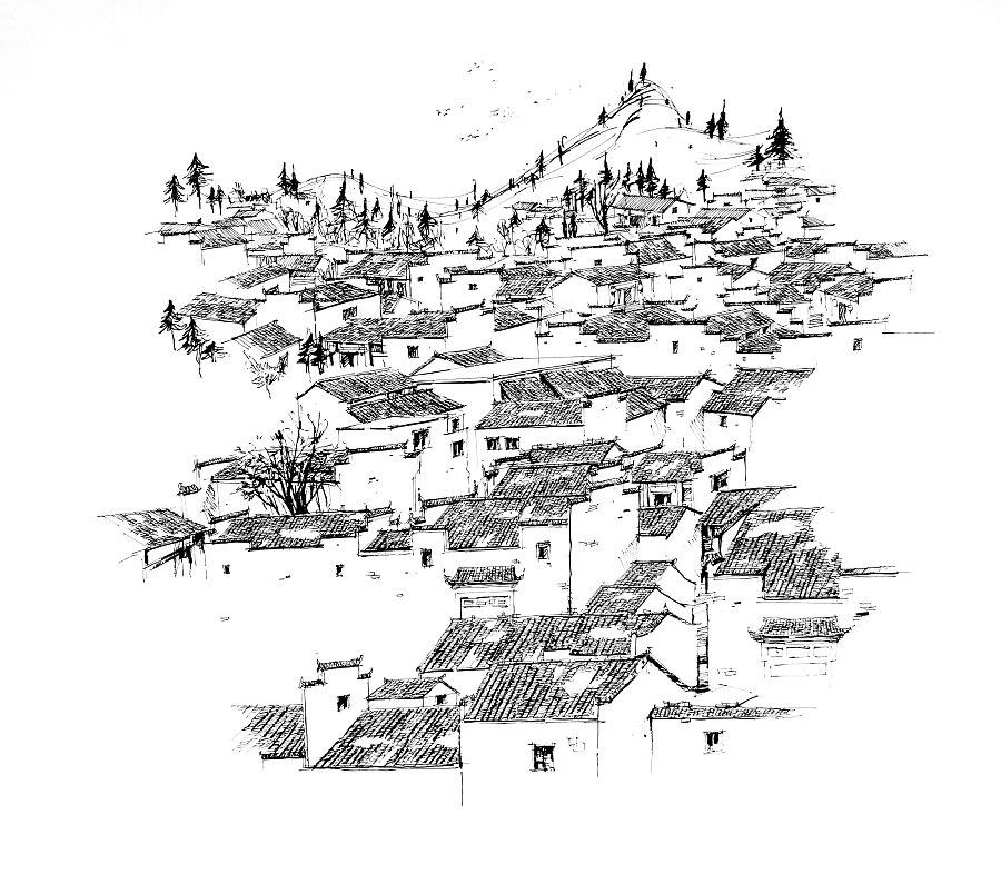 安徽风景手绘线稿
