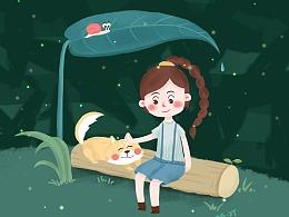 辫子姑娘与狗子的插画互动日常