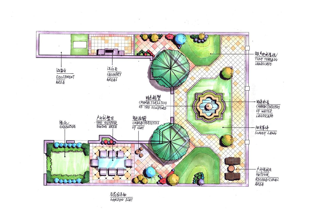 私家花园景观手绘|空间|景观设计|lkyping - 原创作品