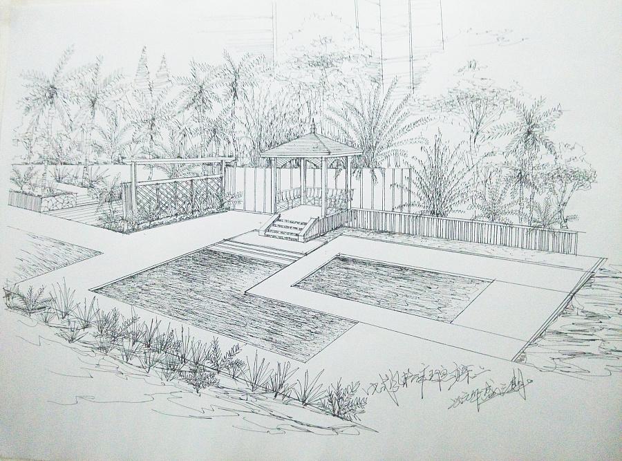 快速手绘园林私家花园手绘表现|园林景观/规划|空间