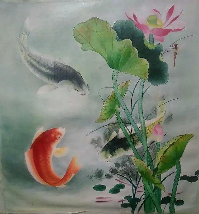 丙烯临摹工笔荷花鲤鱼图片
