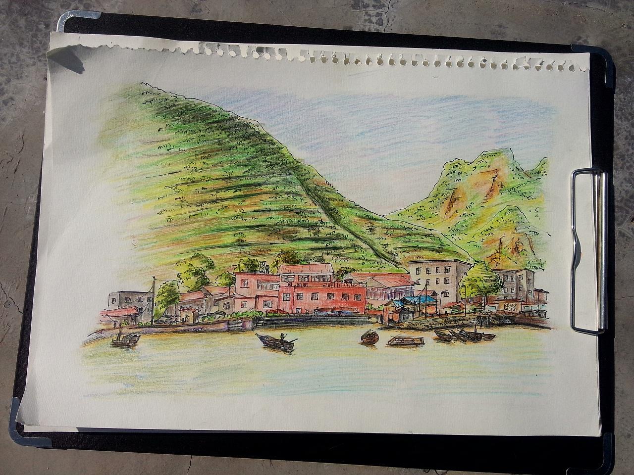 彩铅手绘海边风景图片