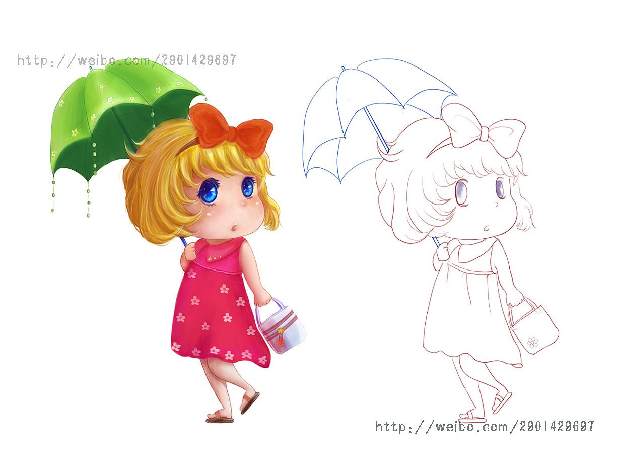 撑伞的小女孩